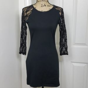 Express Black Lace Sleeves Dress Size Med.